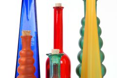Colored glass vases Royalty Free Stock Photo