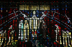 Colored glass window in the church of Notre Dame d royalty free stock images
