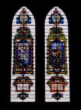 Colored glass windows in the Salisbury  Cathedral Royalty Free Stock Image