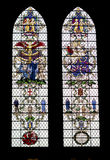 Colored glass windows in the Salisbury  Cathedral Stock Photo