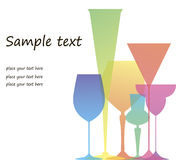 Colored glasses. Advertising banners including several colored glasses for wine and cocktails Stock Image