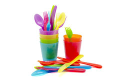 Colored glasses and cutlery Royalty Free Stock Image