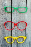 Colored glasses frames placed on a display for sale stock photos