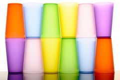Colored glasses of frosted plastic Stock Images
