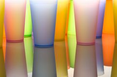 Colored glasses of frosted plastic Stock Photography