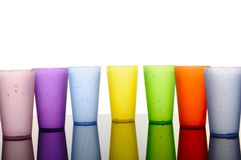 Colored glasses of frosted plastic Stock Photos