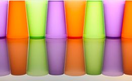 Colored glasses of frosted plastic Royalty Free Stock Photos