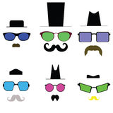 Colored glasses and a mustache and hat. Royalty Free Stock Photos