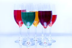 Colored glasses in a row Stock Image