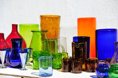 Colored Glassware, Mexican market Royalty Free Stock Photography
