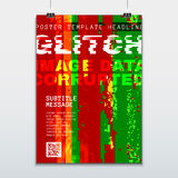 Colored glitch design background poster template Stock Photo