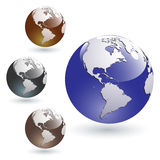 Colored Glossy Earth Globes Stock Photos