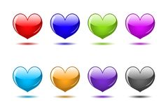 Colored glossy hearts Royalty Free Stock Photo