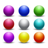 Colored glossy, shiny 3D balls, spheres vector set Stock Photos