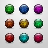 Colored glossy sphere with glitter. Set of buttons for your design. 3D objects. Vector, eps 10 royalty free illustration