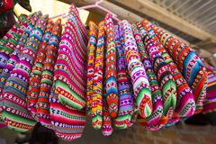 Colored gloves from Bolivia ethnic market Stock Images