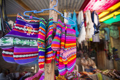 Colored gloves from Bolivia ethnic market Stock Photos