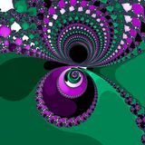 Yin yang colored glowing orb in green and violet royalty free illustration
