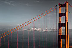 Colored Golden Gate bridge Royalty Free Stock Images