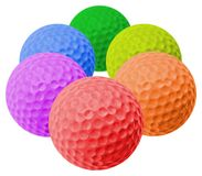 Colored golf balls. Six golored golf balls arranged as an hexagon stock photos