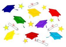 Colored Graduation Caps Stock Photography