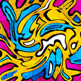 Colored graffiti abstract pattern on a black background Stock Photo