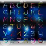 Colored graffiti alphabet and numbers on a beautiful color background vector illustration. (vector eps 10 Royalty Free Stock Photos