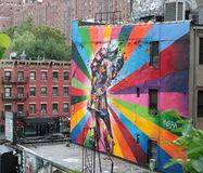 Colored graffiti of a couple. Colored graffiti of a kissing couple in New York Royalty Free Stock Image