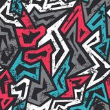 Colored graffiti seamless pattern with grunge effect Royalty Free Stock Photo