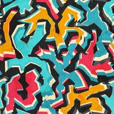 Colored graffiti seamless pattern with grunge Royalty Free Stock Photography