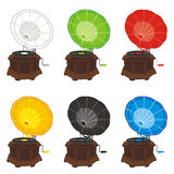 Colored gramophones Stock Photography