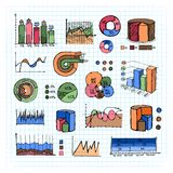 Colored Graphs  Charts and Diagrams on Grid Lines Stock Images