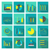 Colored Graphs Flat Icon Set. Colored and isolated graphs flat icon set square or in buttons form vector illustration Stock Photography