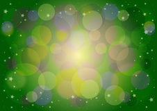 Colored green background with bokeh effect and sparkles. Vector illustration Royalty Free Stock Image