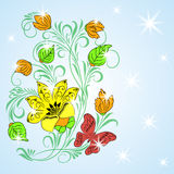 Colored greeting design. Floral background with small stars (or snow vector illustration