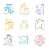 Colored groups outline various garbage separate collection Stock Photo