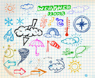 Colored grunge weather hand drawing icons Stock Image
