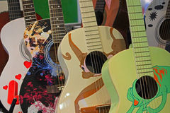 Colored guitars Stock Photography