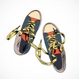 Colored gumshoes sketch Royalty Free Stock Photo