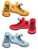 Colored gumshoes. Variety of convenient colored Sport gumshoes Stock Image