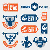 Colored gym labels stock illustration