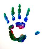 Colored hand. A kids hand print with a mixed colors Royalty Free Stock Image