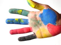 Colored hand. Isolated royalty free stock photos