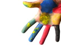 Colored hand. Isolated royalty free stock images