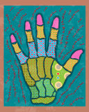 Colored hand. Hand assembled from pieces of text Royalty Free Stock Photography