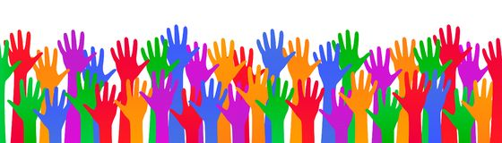 Colored hand crowd - for stock. Colored hand crowd - stock vector royalty free illustration