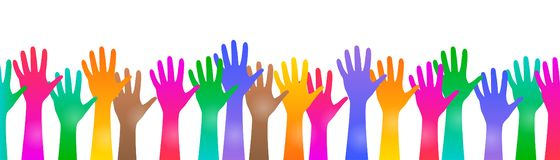 Colored hand crowd - vector. Colored hand crowd - stock vector stock illustration