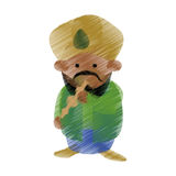 Colored hand draw charmer indian work Stock Photos