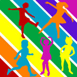 Colored hand draw children silhouettes Stock Photography
