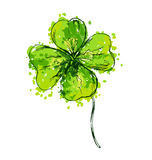 Colored hand drawing cloverleaf Royalty Free Stock Photo
